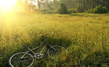 rower leży